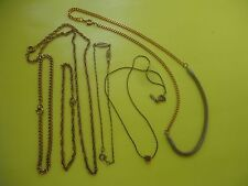Vintage  Jewelry Lot 6 PC  Chain Necklace And Chain Bracelets Gold Tone    #221.
