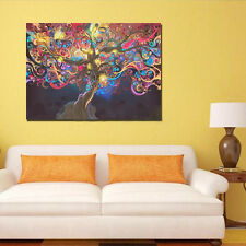 Home Wall Decor 50*33cm Psychedelic Trippy Tree Abstract Art Silk Cloth Poster *