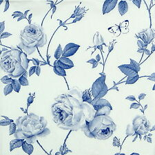 4x Single Table Party Paper Napkins for Decoupage Decopatch Rambling Rose Blue