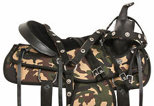 16 17 18 CAMOUFLAGE COWBOY CAMO PLEASURE TRAIL BARREL WESTERN HORSE SADDLE TACK