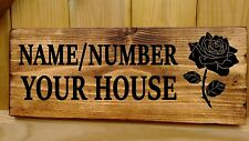 Personalised Wooden Rose House Name Plaque  Signs - Bungalow Cottage Porch wood
