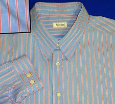 17.5 FABULOUS QUALITY ASCOT CHANG TAILORED BLUE PINK JACQUARD STRIPED MENS SHIRT