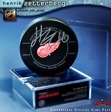 HENRIK ZETTERBERG Signed Detroit Red Wings Official Game Puck w/ Case