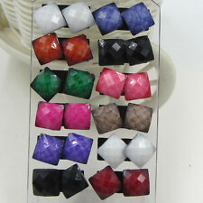 Cute Wholesale lots 6 Pairs Faceted square Style Earrings Stud Jewelry Fashion
