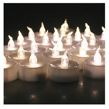 100x Warm White Flickering Flashing LED Tea Light Battery Candles Flameless Safe