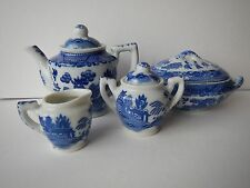 Blue Willow doll's dishes; covered tureen, coffee pot, creamer, sugar; Japan