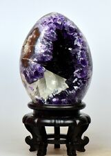 """5.8"""" NATURAL AMETHYST GEODE&BANDED AGATE EGG BALL w/Resin Stand URUGUAYAN Z2279"""
