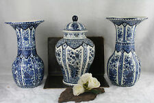 Antique BOCH delft blue white pottery Vases set ceramic marked 1920