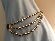 Vintage 3 drop Chain Belt Leather and Gold CHANEL Influence Style Look Hong Kong