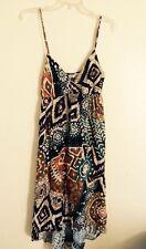 Anthropologie Blue Bird Dress Tribal High Low Sundress Brown Beige