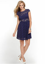 NWT GUESS $98 Fit and flare Sexy Lace dress Dark Blue Navy Sheer S 4 5
