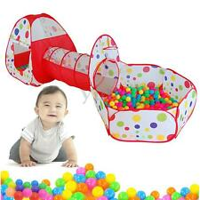 3PC Kids Baby Play Tunnel Tent Ball Pool Pop Up Playhouse Outdoor Playground Toy