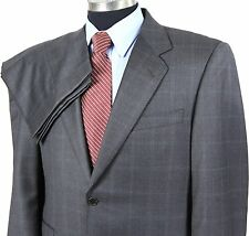 CANALI Mens 40S/W34 Gray Aqua Plaid 2-Button 2-Vent Wool Suit~Pleated Pants