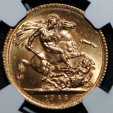 1966 Great Britain Gold Sovereign Elizabeth NGC MS63 Uncirculated BU Coin UK SOV