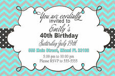 30 Chevron Invitation Cards Turquoise Grey Adult Birthday Party 40th Any Age