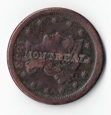 """1853 BRAIDED HAIR LARGE CENT WITH """"MONTREAL"""" COUNTERSTAMP TOKEN COIN"""