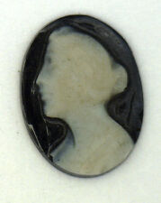 Antique Black & White Onyx Oval Cameo Stone Facing Left 12 mm x 9 mm #N656