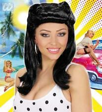 Ladies Black Pin Up Girl Wig 1940'S Ww1 Ww2 Pin Up Model Fancy Dress
