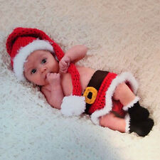 Cute Newborn Baby Knitted Crochet Photo Photography Prop Christmas Santa Costume