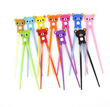 Cute 1pairs bear Kids training Helper Learning Fun Gift Toy Cheater Chopsticks