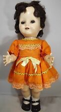 "VINTAGE 1950s 17"" PEDIGREE HARD PLASTIC WALKER DOLL FLIRTY EYES VINTAGE DRESS"