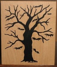 Northwoods Rubber Stamp - Tree with Bats - Halloween