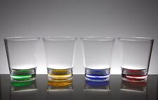 QG 16 oz Clear w/ Color Base Acrylic Plastic Cup Drinking Glass Tumbler Set of 8
