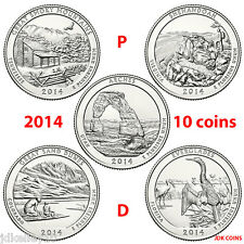 2014 P&D NATIONAL PARK QUARTERS COMPLETE 10 COIN SET UNCIRCULATED MINT