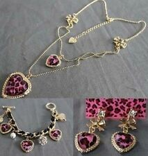 NEW Betsey Johnson Fashion Heart-shaped leopard necklace bracelet earrings!