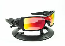 OAKLEY OIL RIG MATTE BLACK FRAME & REVANT MIDNIGHT SUN RUBY RED POLARIZED LENSES