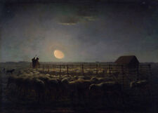 The Sheepfold, Moonlight Jean-Francois Millet Schafherde Mond Schäfer B A3 02516