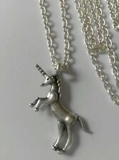 "A Unicorn Horse (30*33mm) Tibetan Silver Charm Pendant, Long 30"" Chain Necklace"