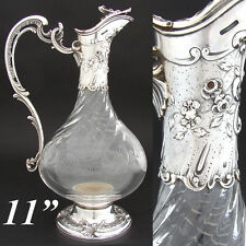 "Antique French Sterling Silver & Spiral Cut Glass 11"" Claret Jug, Rococo Style"