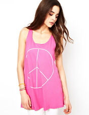 WILDFOX COUTURE PEACE PINK VEST TOP L 14 10 42!