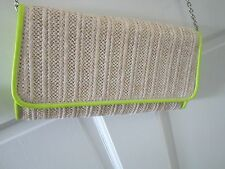 Street Level Nordstrom Purse Clutch Crossbody Straw/Neon Green Faux Leather NWOT