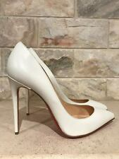 NIB Christian Louboutin Pigalle Follies 100 White Neige Leather Pump Heel 39.5