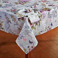 "Vintage Butterfly Floral French Script Postcard Tablecloth 60""x84"" Cottage Decor"