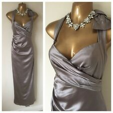 KAREN MILLEN DRESS SIZE 10 Silver Grey Shimmer  Party Evening Occasion Gown