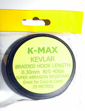 K-Max Kevlar Hook Length 40lbs 0.30mm 25mtrs - Catfish, Coarse