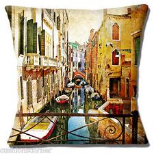 """Retrò Vintage Venezia Canal PONTE GONDOLE edifici 16 """"Cuscino Coprire"""