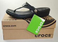 Crocs Sanrah Wedge Flip Flop (Women's) all Black Size W 8