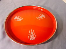 Vintage Red Art Deco Metal Serving Tray Deco Bar