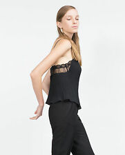 ZARA SEXY BLACK PLEATED CAMISOLE STRAPPY TOP SIZE L LARGE BNWT**STUNNING**