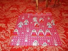 VTG CHRISTMAS WRAPPING PAPER GIFT WRAP MCM ANGEL STARS TREE ON RED SO RETRO 1950