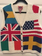 FLAG SWEATER VEST - M - USA UK SWEDEN FRANCE JAPAN Cambridge Dry Goods