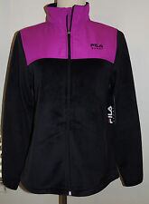 New Fila Sport Small Athletic Jacket Black/Pink Fleece Faux Fur Full Zip $50