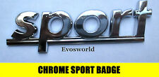 CHROME SPORT BADGE SILVER 3D EMBLEM STICKER DECAL RENAULT CLIO