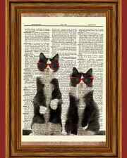 Hipster Cat Brothers Glasses Tuxedo Dictionary Art Print Book Wall Hanging OOAK