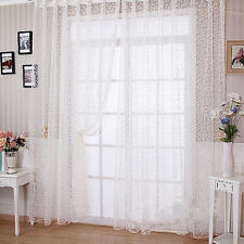 Flocking Sheer Voile Window Panel Curtain Window Door Drape White 100*280cm