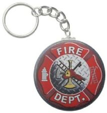 2.25 Inch Fire Department Emblem Fighter Button Keychain